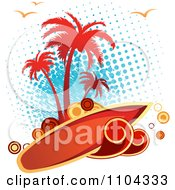 Clipart Surfboard Sign With Waves Circles Halftone Seagulls And Blue Halftone Royalty Free Vector Illustration