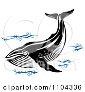 Clipart Black And White Whale Swimming With Blue Waves Royalty Free Vector Illustration by Vector Tradition SM