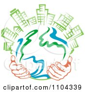 Clipart Pair Of Hands Holding A Globe With Green Skyscrapers On Top 2 Royalty Free Vector Illustration by Vector Tradition SM