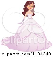 Clipart Beautiful Brunette Beauty Queen Woman Posing In A Pink Ball Gown - Royalty Free Vector Illustration by Monica