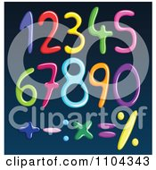 Clipart Colorful Spaghetti Numbers And Math Symbols On Blue Royalty Free Vector Illustration
