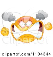 Clipart Furious Yellow Emoticon Smiley Face Turning Red With Steam And Anger Royalty Free Vector Illustration