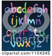 Clipart Colorful Spaghetti Lowercase Letters On Blue Royalty Free Vector Illustration
