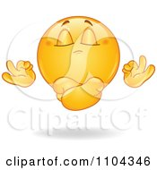 Clipart Meditating Yellow Emoticon Smiley Face Floating Royalty Free Vector Illustration