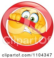 Clipart Yellow Emoticon Smiley Face In A Restricted Symbol Royalty Free Vector Illustration