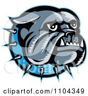 Clipart Retro Woodcut Styled Bulldog Head With A Spiked Blue Collar Royalty Free Vector Illustration