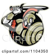 Clipart Retro Woodcut Roman Centurion Soldier With A Shield And Sword In A Black Circle Royalty Free Vector Illustration by patrimonio