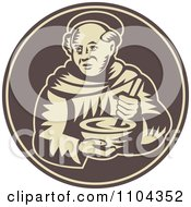 Clipart Retro Friar Monk Mixing Food In A Bowl On A Brown Circle Royalty Free Vector Illustration by patrimonio