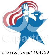Clipart Male Chef With A Steamy Platter Forming Stripes Over A Blue Star Royalty Free Vector Illustration