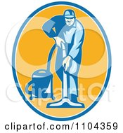 Clipart Retro Male Janitor Using A Vacuum Over An Orange Oval Royalty Free Vector Illustration