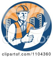 Clipart Happy Retro Construction Engineer Reading Blueprints In A City Circle Royalty Free Vector Illustration