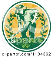 Clipart Retro Farmer Working In A Cabbage Patch Crop Over Orange Rays Royalty Free Vector Illustration