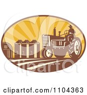 Clipart Retro Farmer Operating A Tracter In A Crop With Silos In The Background Royalty Free Vector Illustration
