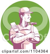 Poster, Art Print Of Retro Male Carpenter Holding A Brush And Hammer Over A Green Circle