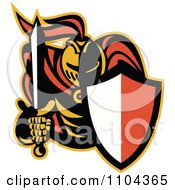 Clipart Retro Knight With A Shield And Sword Royalty Free Vector Illustration