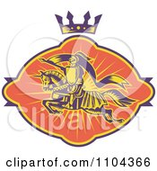Clipart Retro Horseback Knight With A Spear Under A Crown Royalty Free Vector Illustration