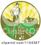 Clipart Retro Landscaper Mowing A Lawn Near A House Royalty Free Vector Illustration