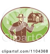 Clipart Retro Male Real Estate Agent Holding A House Over A Green Oval Royalty Free Vector Illustration