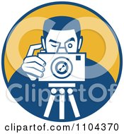 Clipart Retro Photographer Taking A Picture Over An Orange Circle Royalty Free Vector Illustration