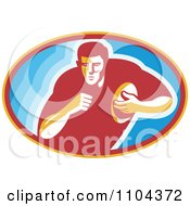 Clipart Rugby Player Running In A Blue Oval Royalty Free Vector Illustration