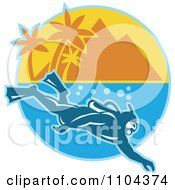 Clipart Scuba Diver Near A Mountainous Tropical Island Royalty Free Vector Illustration