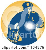 Clipart Retro Security Guard With A Dog And Flashlight Over Orange Royalty Free Vector Illustration