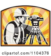 Clipart Retro Surveyor Using A Theodolite Against A Sunset Royalty Free Vector Illustration by patrimonio