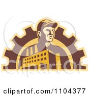 Clipart Retro Factory Worker Man With A Building And Gear Cog Royalty Free Vector Illustration by patrimonio