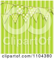 Clipart Patterned Bunting Flags Over Green Stripes Royalty Free Vector Illustration by elaineitalia