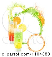 Clipart Highball Cocktails With Lemon Orange And Lime Slices And Grunge Circles Royalty Free Vector Illustration