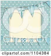 Patterned Bunting Flags And Polka Dots On Blue With Copyspace