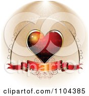 Clipart Wedding Anniversary Or Valentines Day Background Of A Red Heart And Banner 1 Royalty Free Vector Illustration