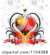 Clipart Wedding Anniversary Or Valentines Day Background Of A Red Heart And Banner 4 Royalty Free Vector Illustration