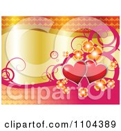 Clipart Wedding Anniversary Or Valentines Day Background Of Red Hearts Flowers And Swirls With Gold Royalty Free Vector Illustration