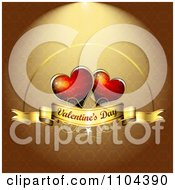 Romantic Golden Heart Background With Valentines Day Text 1