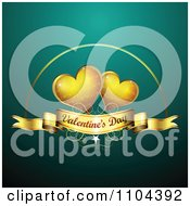 Romantic Turquoise Heart Background With Valentines Day Text 1