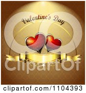 Romantic Golden Heart Background With Valentines Day Text 2