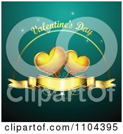 Romantic Turquoise Heart Background With Valentines Day Text 2