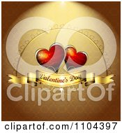 Romantic Golden Heart Background With Valentines Day Text 4