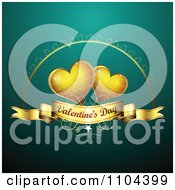 Romantic Turquoise Heart Background With Valentines Day Text 4