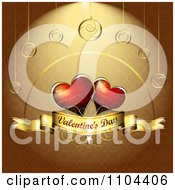 Romantic Golden Heart Background With Valentines Day Text 5