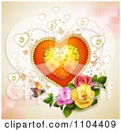 Clipart Dewy Heart With Vines Roses And A Butterfly Over Tiles Royalty Free Vector Illustration by merlinul