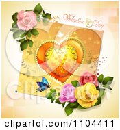 Valentines Day Background With A Dewy Heart Butterfly And Roses Over Tiles
