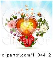 Clipart Dewy Heart With Butterflies And Roses Over Rays Royalty Free Vector Illustration