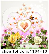 Clipart Butterfly With Hearts Over Roses Royalty Free Vector Illustration