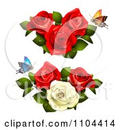 Butterflies With Red And White Roses
