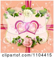 Clipart Entwined Hearts In A Rose Frame Over Diagonal Stripes With Ribbons Royalty Free Vector Illustration