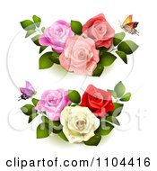 Clipart Butterflies With Pink Red And White Roses Royalty Free Vector Illustration