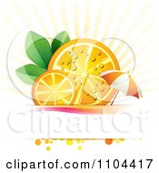 Clipart Juicy Orange Slices And Leaves With An Umbrella Over Copyspace And Rays Royalty Free Vector Illustration