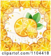 Clipart Fresh Orange Slices And Leaves Bordered With Wedges Over Stripes Royalty Free Vector Illustration